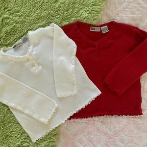 Faded Glory LS White Red Ruffle Tops Lot Girls 3T